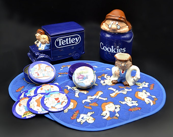 Tetley Tea Collectibles, Cookie Jar, Tea Caddy, Placemats, Creamer, Coasters, Memorabilia