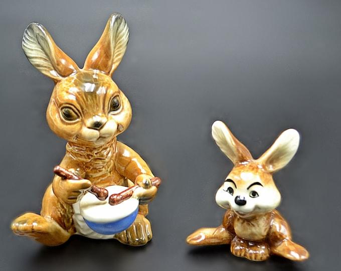 Vintage Goebel Rabbits, Drumming Bunny, Sitting Bunny