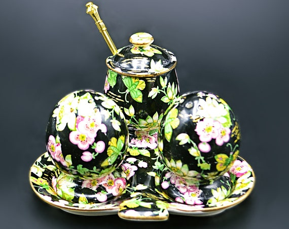 Royal Winton Condiment Set, Orient Pattern, Chintz Salt And Pepper Shakers, Mustard Pot, Floral And Butterfly Design