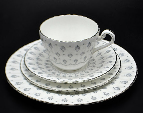 Paragon Regency Print Pattern 4 Piece Tea Set, White And Silver Teacup