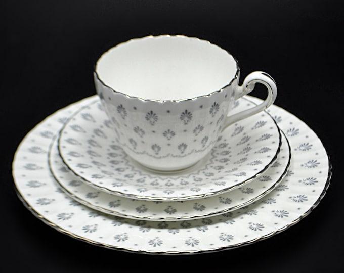 Paragon Regency Print Pattern 4 Piece Tea Set, White And Silver Teacup