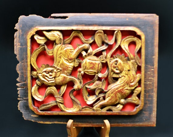 Antique Chinese Temple Carving Plaque, Foo Lion