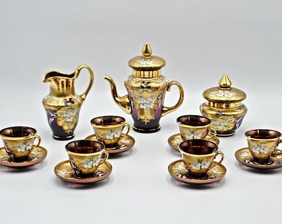 Bohemian Amethyst Crystal Tea Set, Moser Style Tea Service