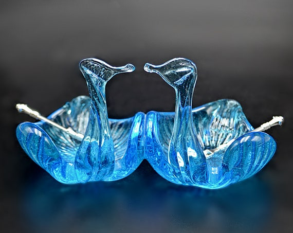 Blue Glass Swan Salt Cellars