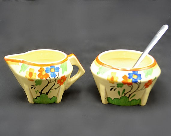Barker Bros Tudor Ware Art Deco Creamer And Sugar Bowl