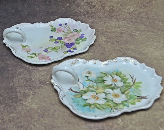 Hand Painted Handled Floral Plates, Serving Dishes