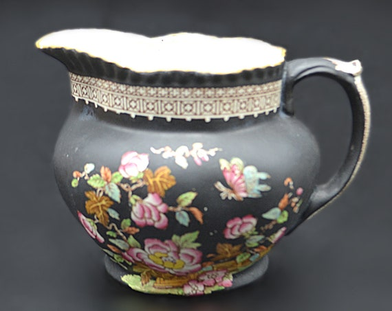 Adams Tunstall England Black Pitcher, Floral And Butterfly Design Jug