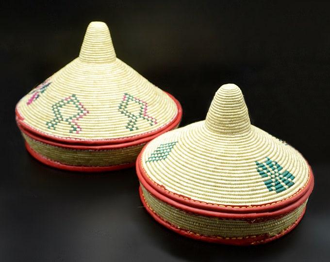 Large Vintage Ethiopian Mesob Baskets, African Hand Woven Bread Baskets, Injera Baskets