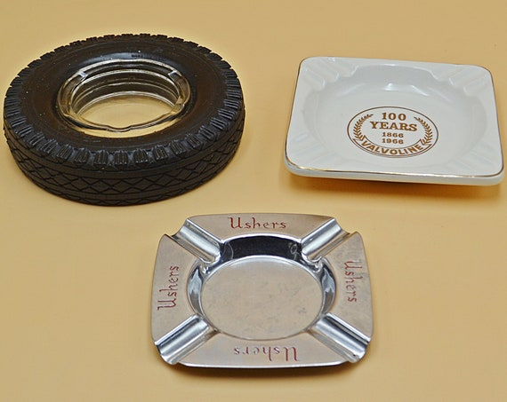 Three Advertisement Ashtrays, Valvoline Commemorative Ashtray, Goodyear Tire Ashtray, Ushers Brewery Ashtray, Vintage Advertising