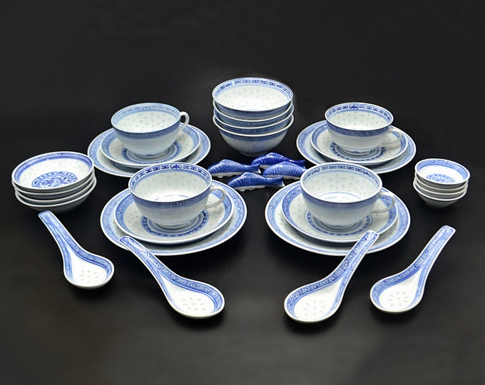Chinese Rice Grain Pattern Dishes, Asian Dragon Cups And Saucers, 32 Piece Dinnerware Set, Service For 4