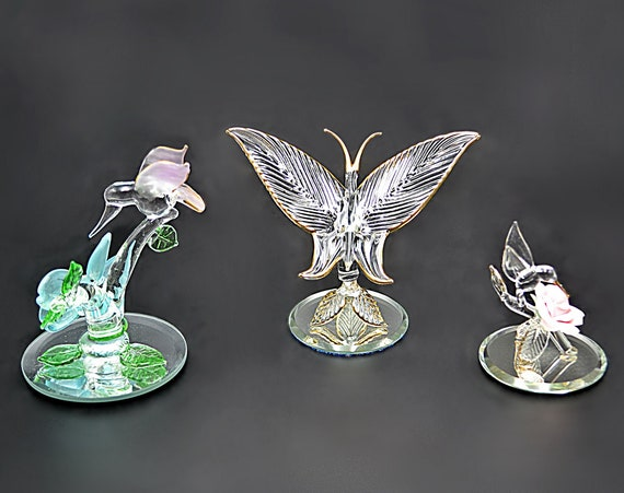 Glass Baron Hummingbirds And Butterfly, Miniature Figurines