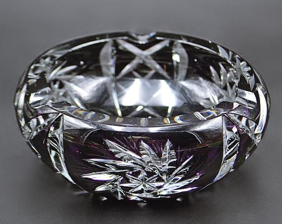 Amethyst Cut To Clear Crystal Glass Ashtray