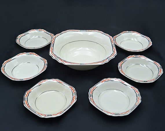 Thomas Hughes And Son Ltd Berry Bowl Set, 1930's Art Deco