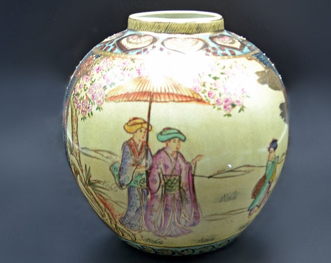 Chinese Satsuma Style Vase, Crackle Glaze With Cherry Blossom Tree And Women