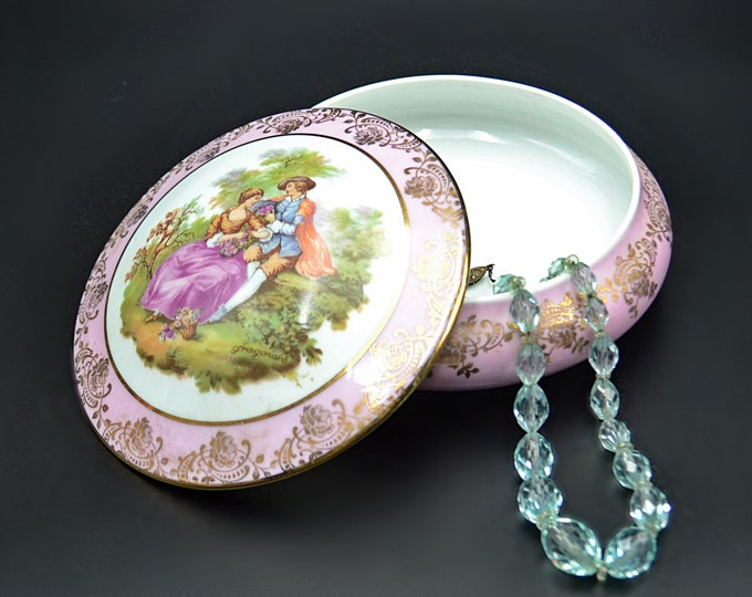 Pink Limoges Trinket Box, Fragonard Courting Couple