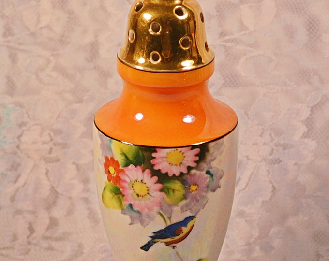 Lusterware Sugar Shaker, Vintage Sugar Castor, Floral And Bird