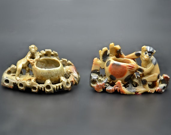 Two Asian Soapstone Monkey Brush Pots, Carved Ink Brush Pots