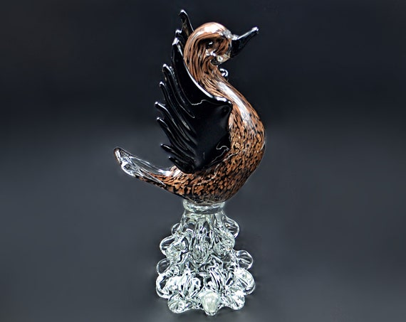 Large Murano Glass Bird, Black And Copper Art Glass Duck