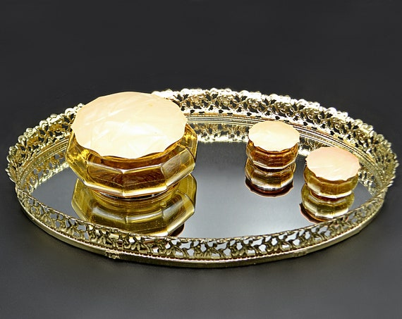 Mirrored Vanity Tray, Amber Glass And Celluloid Jars