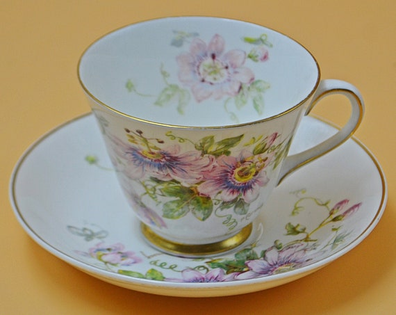 Royal Doulton Passion Flower Teacup And Saucer, P Curnock Artist Signed