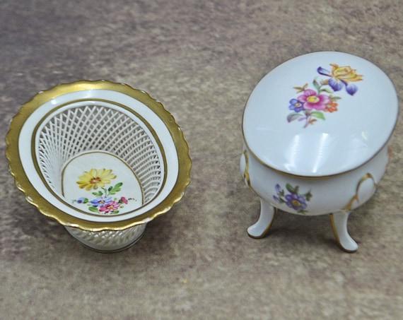 Schierholz Plaue Mint Dish, Von Henneberg  Trinket Box, German Porcelain