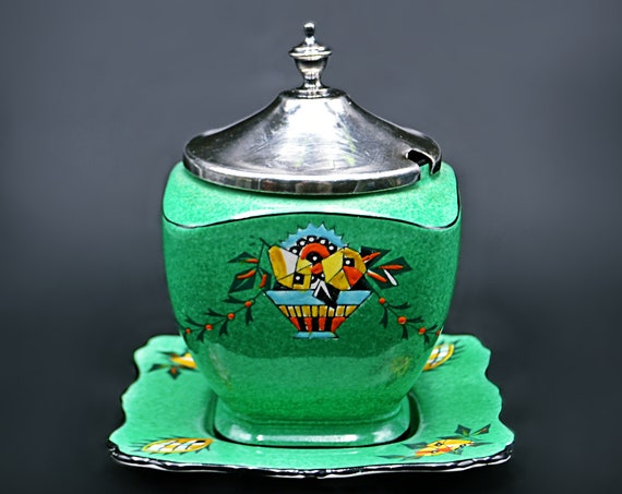 Royal Winton Grimwades Lidded Jam Jar, Saxon Pattern, Art Deco