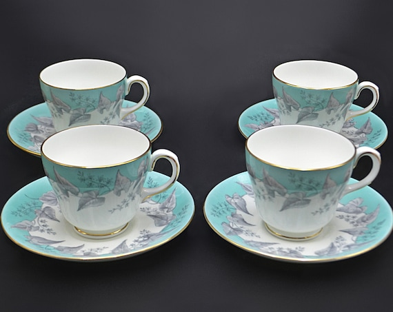 Wedgwood Buxton Teacups And Saucers, Set Of Four