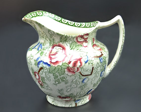 Leighton Pottery Chinese Rose Pitcher, Bourne And Leigh