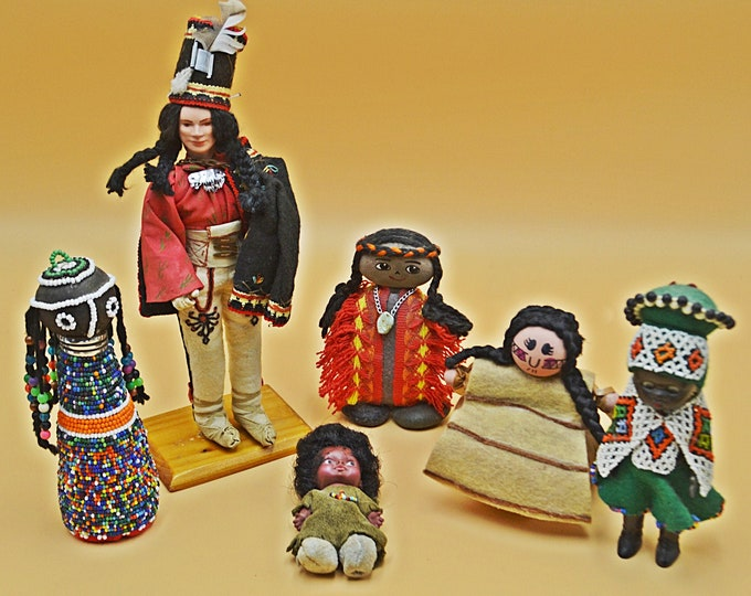 Six Collectible Dolls, Indigenous Dolls, Handmade Vintage Ethnic Miniature Dolls
