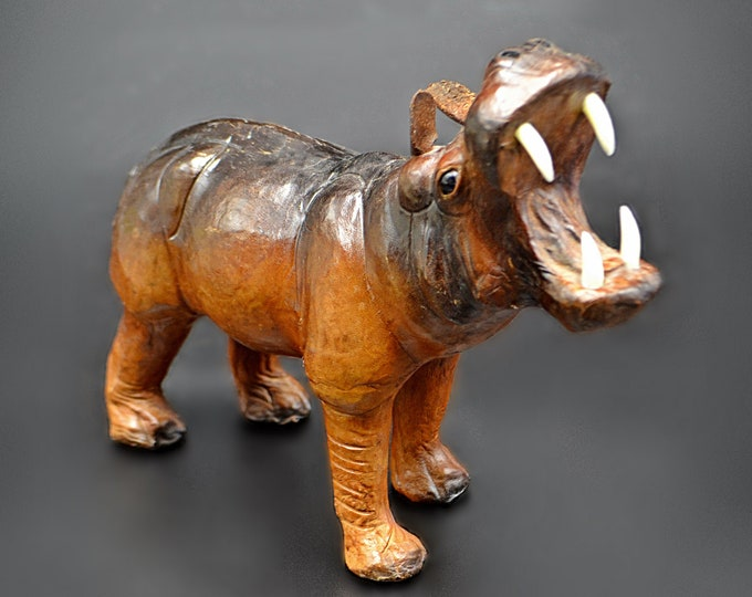 Leather Wrapped Hippo, Vintage Hippopotamus Figurine
