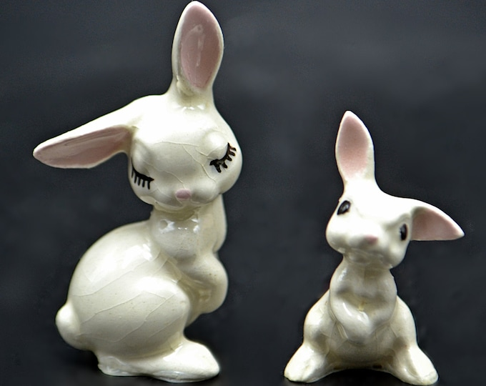 Vintage Hagen Renaker Bunny Figurines, Miniature Figurines, Flirty Rabbit, Listening Rabbit