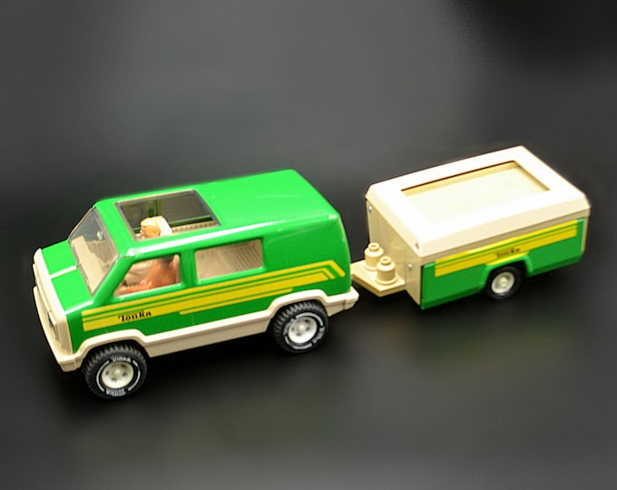 1970's Tonka Van With Camper And People, Vintage Collectible Tonka Toy