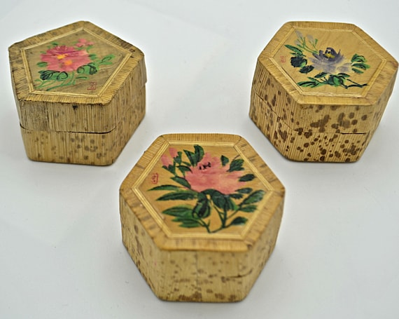 Vintage Bamboo Ring Boxes, Lined Trinket Box