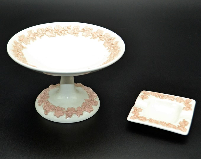Wedgwood Queen's Ware Pink Floral On White, Small Compote, Footed Candy Dish, Ashtray