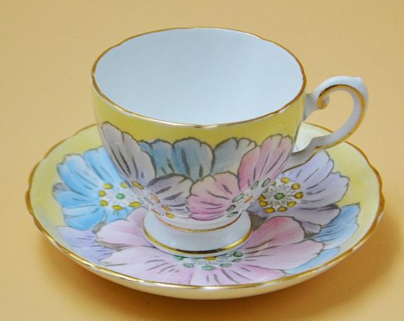 R H Plant Tuscan China Teacup And Saucer, Pastel Yellow Primrose