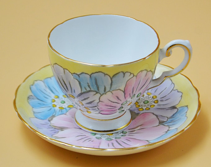 R H Plant Tuscan China Teacup And Saucer, Pastel Yellow Primrose