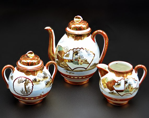 Antique Kutani Tea Set, Shoza-Style Japan