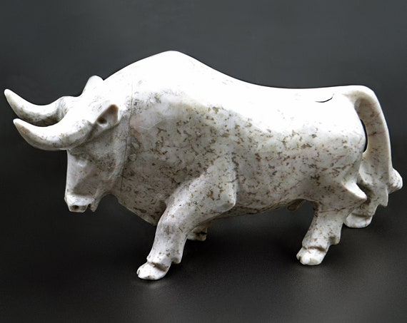 Stone Bison Carving, Bull Sculpture