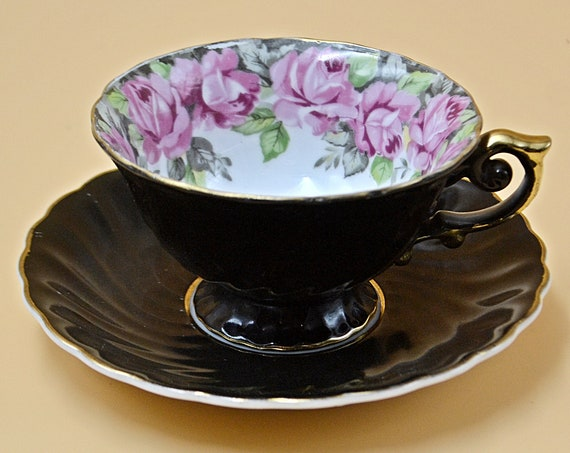Castle China Teacup And Saucer, Black With Pink Mauve Roses