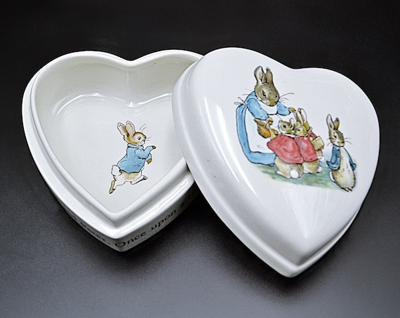 Wedgwood Peter Rabbit Trinket Box, Beatrix Potter, Heart Shaped Porcelain Box