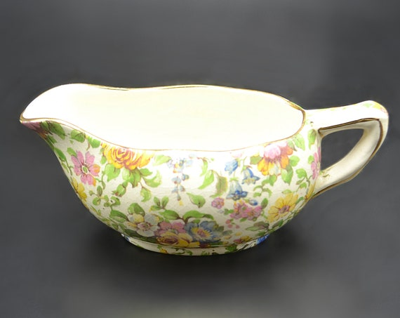 Royal Winton Grimwades Bedale Creamer, Small Sauce Boat, Chintz Pattern