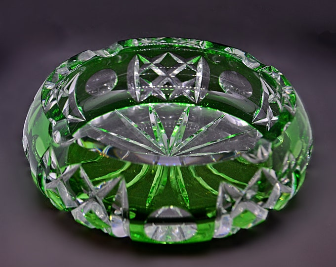 Bohemian Cut Crystal Ashtray, Green Overlay Cigar Ashtray