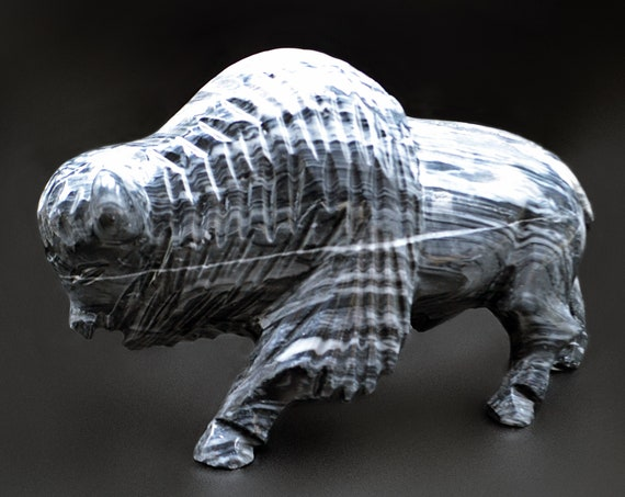Marble Onyx Bison Carving, Stone Sculpture