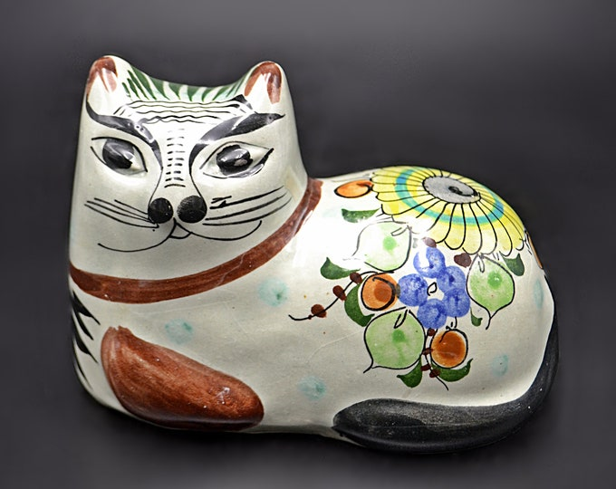 Tonala Mexico Cat Figurine, Floral Cat