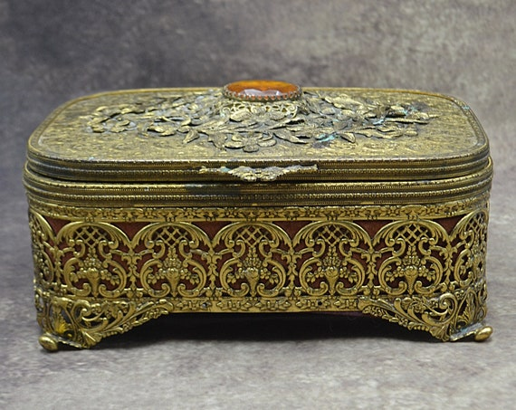 Vintage Gilt Metal Jewelry Box With Pull Out Section