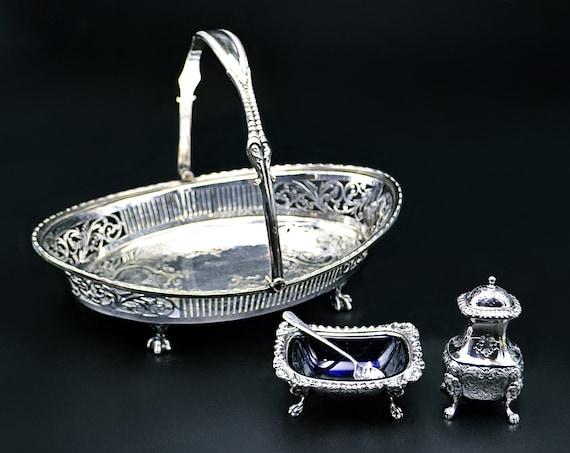 Silver Plate Table Ware, Roberts and Belk Basket, Ellis-Barker Salt Cellar and Pepper Shaker