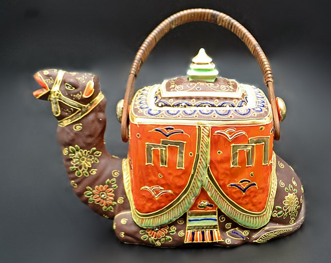 Camel Teapot, Japanese Moriage Decorated