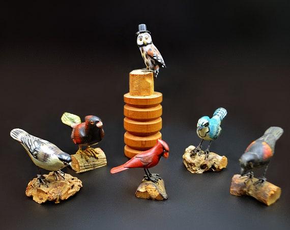 Wood Bird Carvings, Miniature Wood Figurines