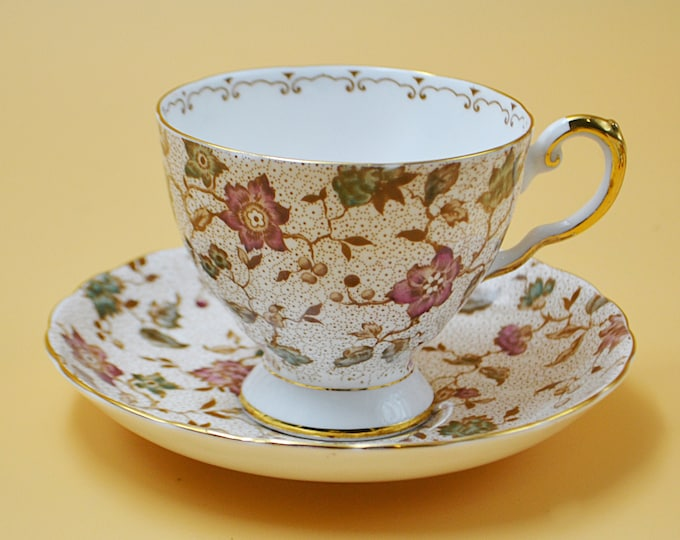 Tuscan China Pink Chintz Teacup And Saucer, Floral Tea Cup