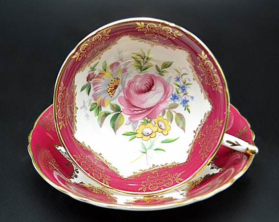 Paragon Teacup And Saucer A4584/5, Red And White,  Pink Cabbage Rose Floral